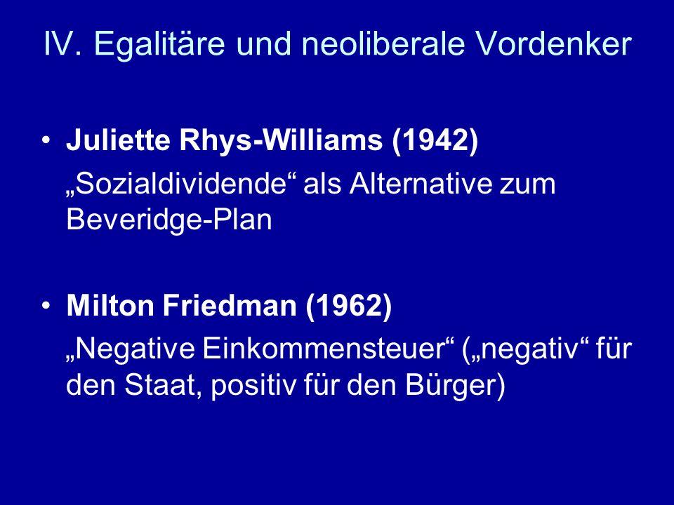 IV. Egalitäre und neoliberale Vordenker