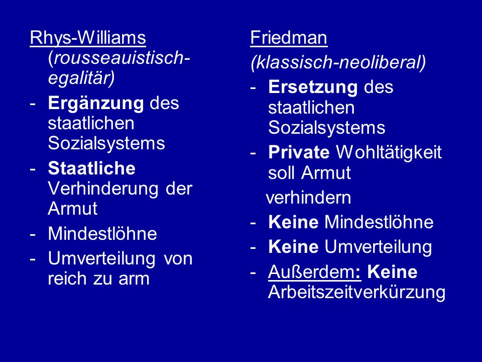 Rhys-Williams (rousseauistisch-egalitär)