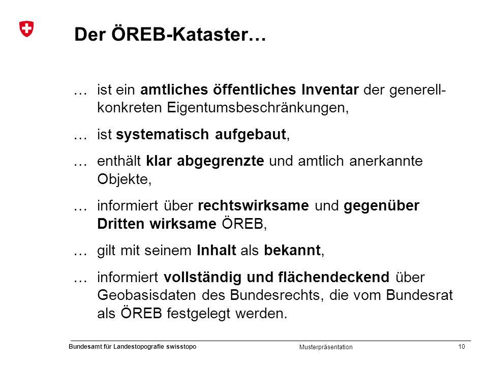 Der ÖREB-Kataster… … ist ein amtliches öffentliches Inventar der generell-konkreten Eigentumsbeschränkungen,