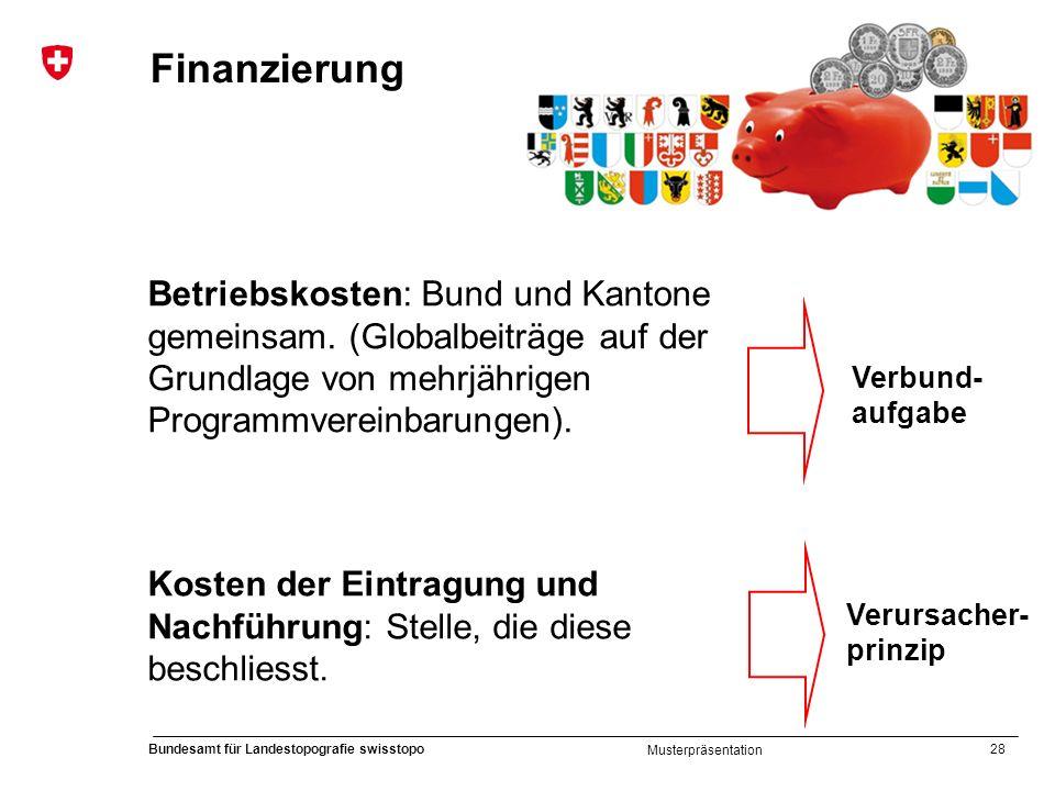 Finanzierung Betriebskosten: Bund und Kantone gemeinsam. (Globalbeiträge auf der Grundlage von mehrjährigen Programmvereinbarungen).