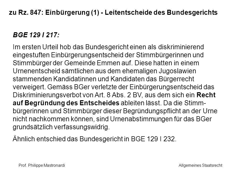 zu Rz. 847: Einbürgerung (1) - Leitentscheide des Bundesgerichts