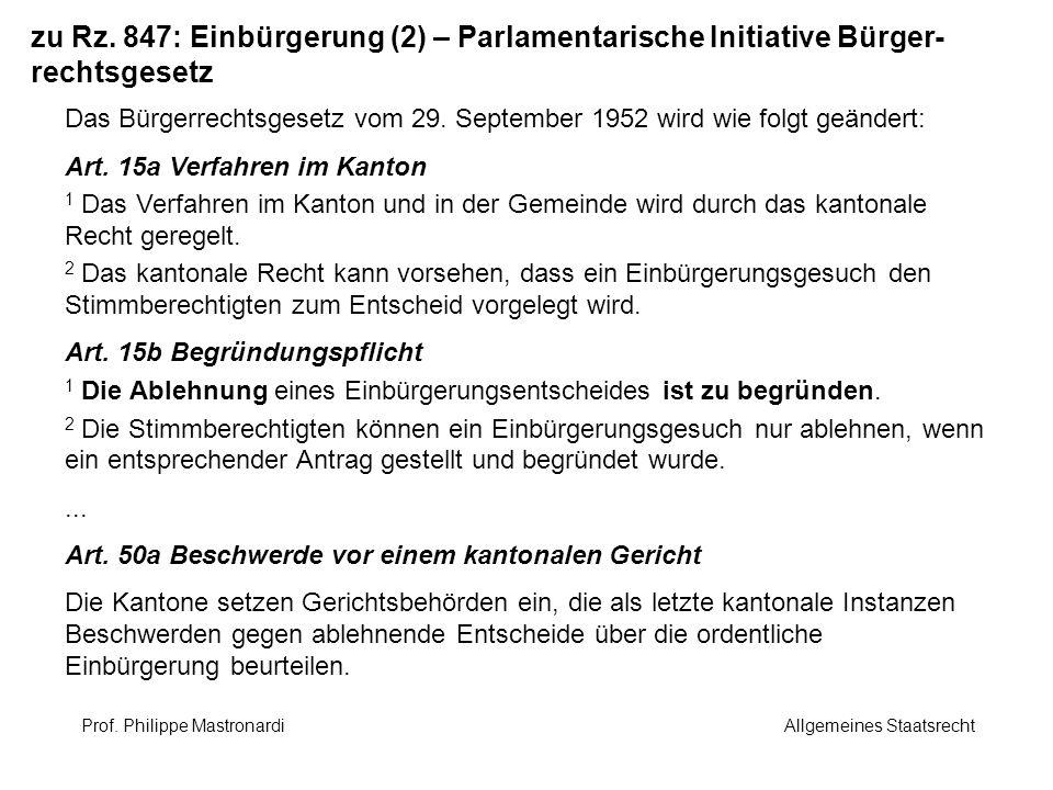 zu Rz. 847: Einbürgerung (2) – Parlamentarische Initiative Bürger-rechtsgesetz