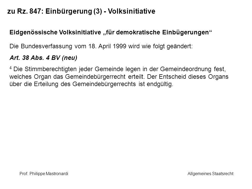 zu Rz. 847: Einbürgerung (3) - Volksinitiative