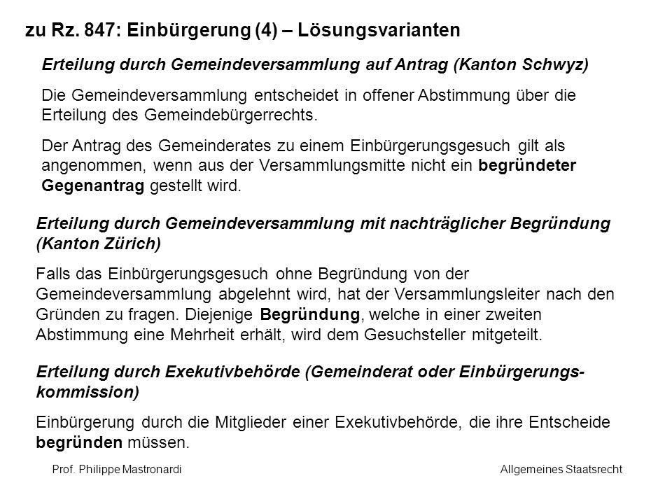 zu Rz. 847: Einbürgerung (4) – Lösungsvarianten
