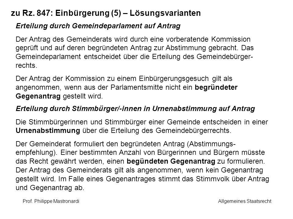 zu Rz. 847: Einbürgerung (5) – Lösungsvarianten