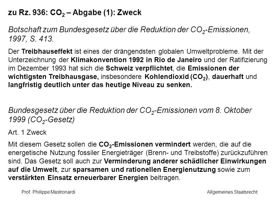 zu Rz. 936: CO2 – Abgabe (1): Zweck