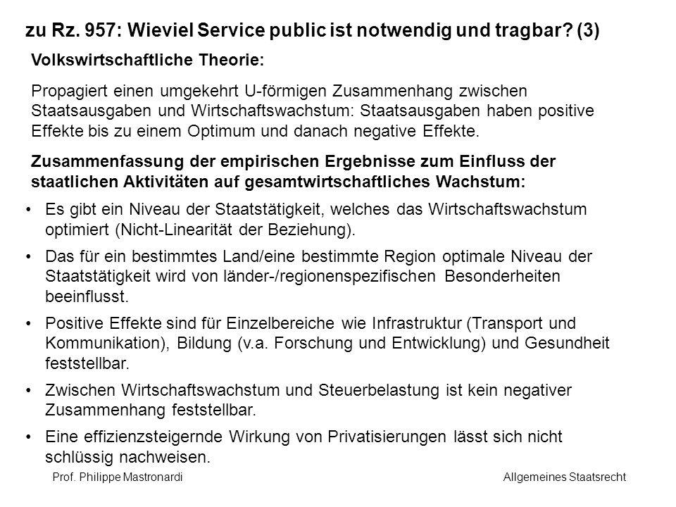 zu Rz. 957: Wieviel Service public ist notwendig und tragbar (3)