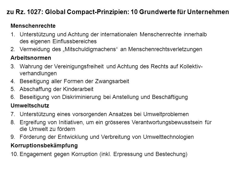 zu Rz. 1027: Global Compact-Prinzipien: 10 Grundwerte für Unternehmen