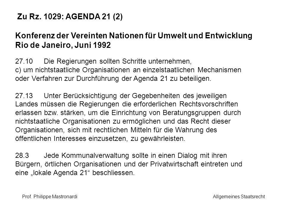 Zu Rz. 1029: AGENDA 21 (2) Konferenz der Vereinten Nationen für Umwelt und Entwicklung Rio de Janeiro, Juni 1992