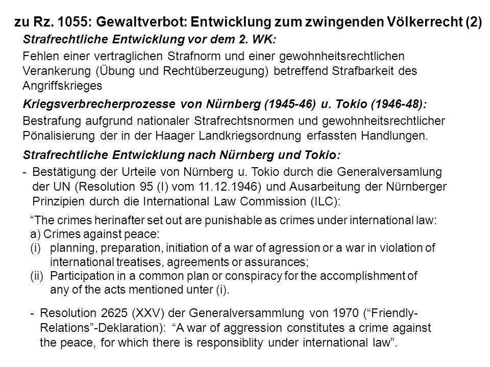 zu Rz. 1055: Gewaltverbot: Entwicklung zum zwingenden Völkerrecht (2)