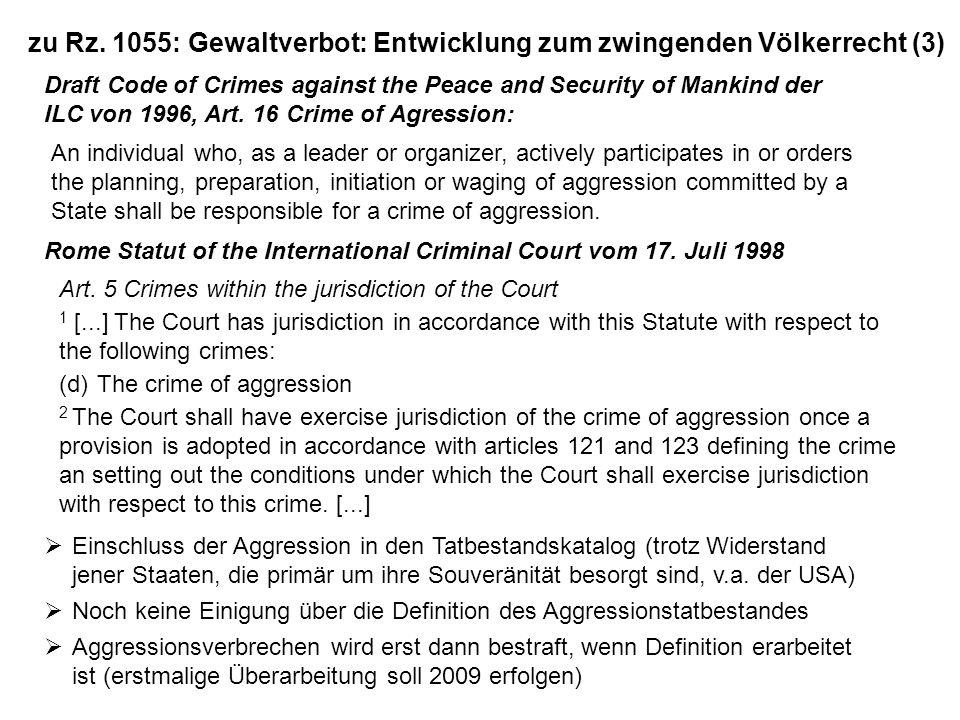 zu Rz. 1055: Gewaltverbot: Entwicklung zum zwingenden Völkerrecht (3)