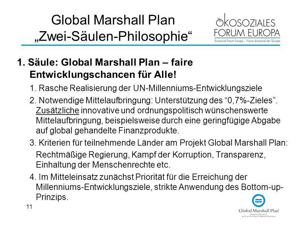 "Global Marshall Plan ""Zwei-Säulen-Philosophie"
