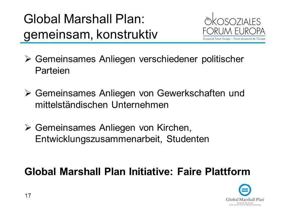 Global Marshall Plan: gemeinsam, konstruktiv
