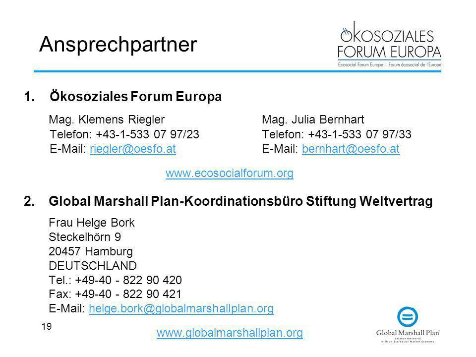 Ansprechpartner Ökosoziales Forum Europa.