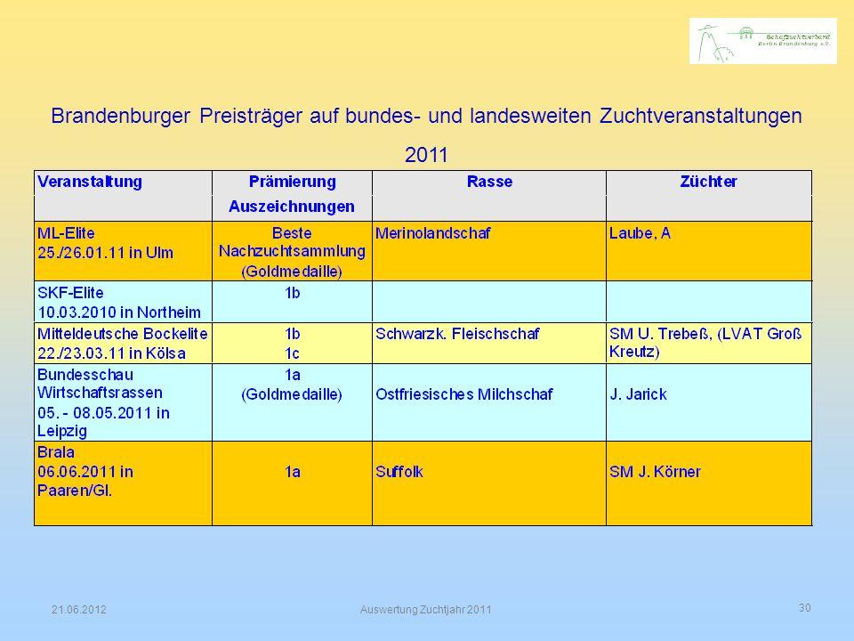 Brandenburger Preisträger auf bundes- und landesweiten Zuchtveranstaltungen