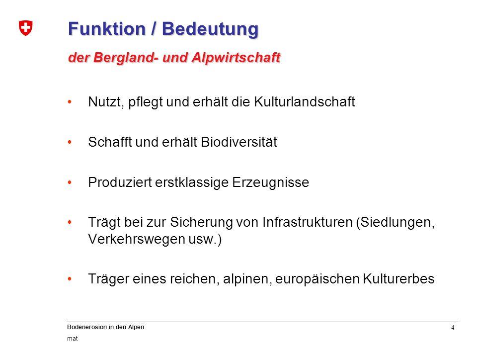 Funktion / Bedeutung der Bergland- und Alpwirtschaft