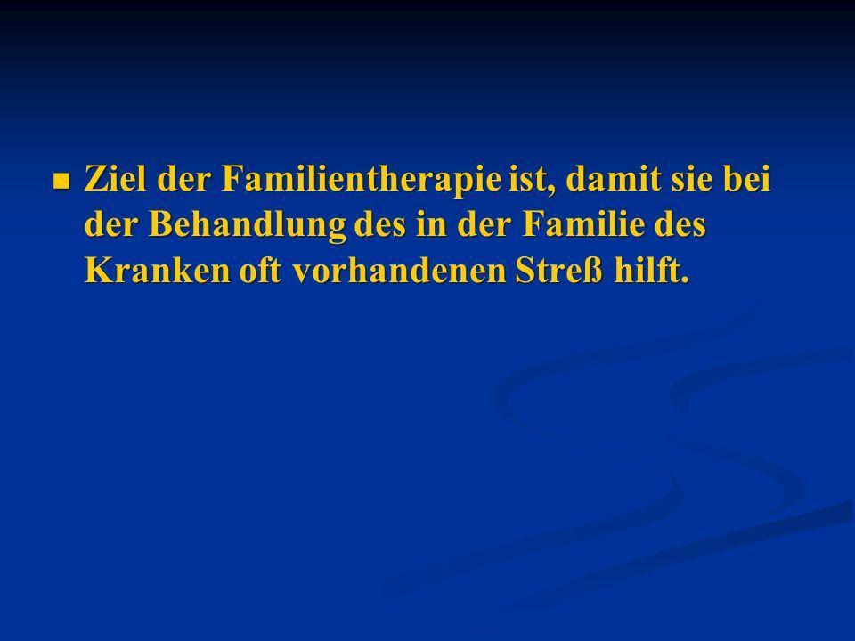 Ziel der Familientherapie ist, damit sie bei der Behandlung des in der Familie des Kranken oft vorhandenen Streß hilft.