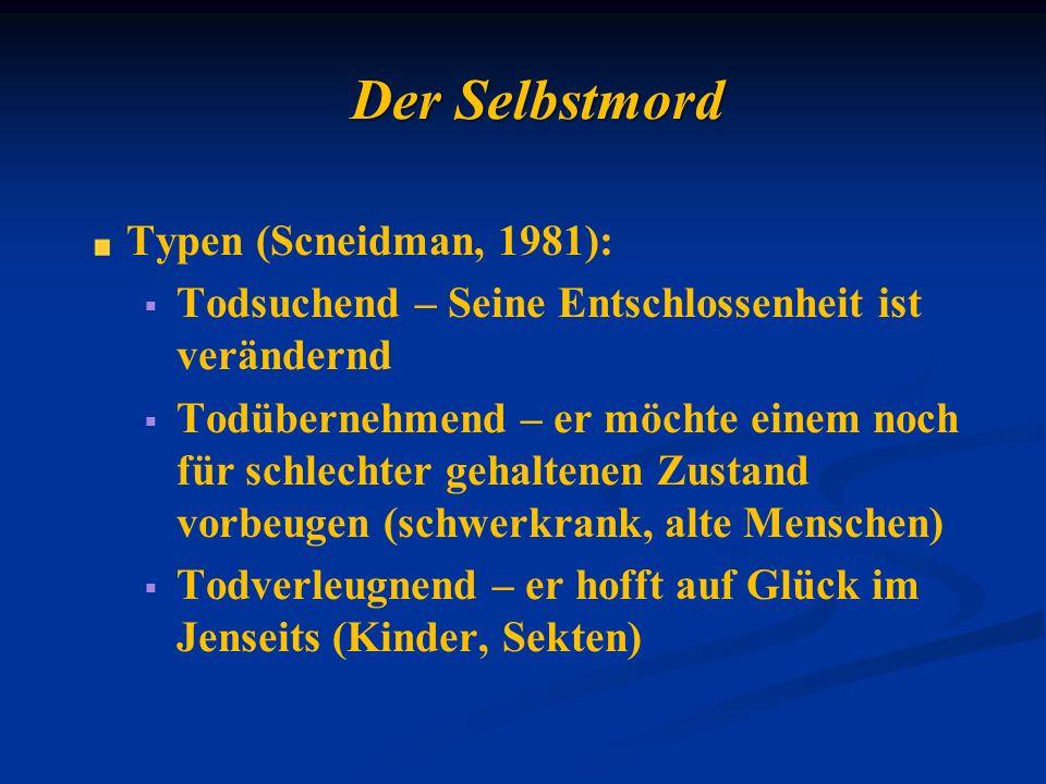 Der Selbstmord Typen (Scneidman, 1981):