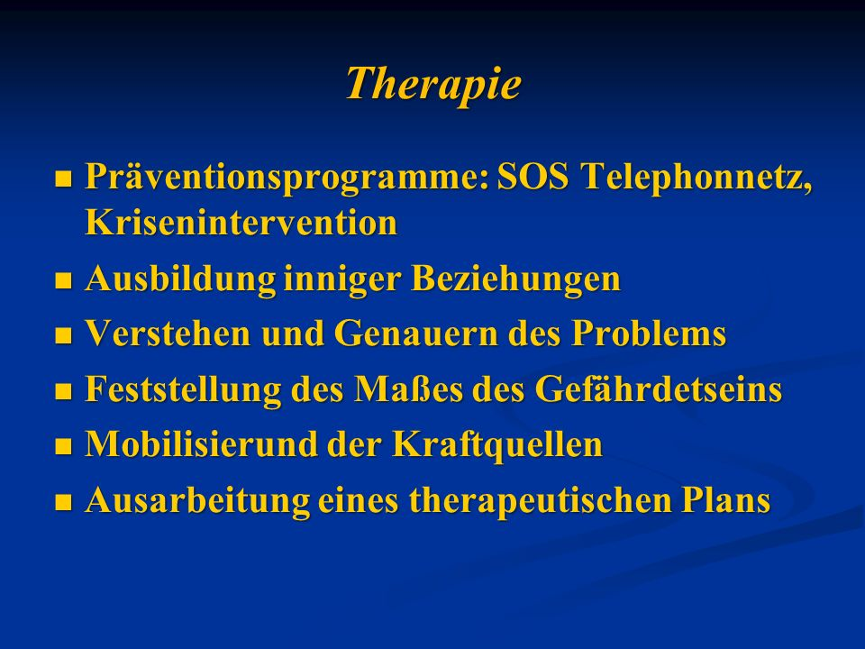 Therapie Präventionsprogramme: SOS Telephonnetz, Krisenintervention