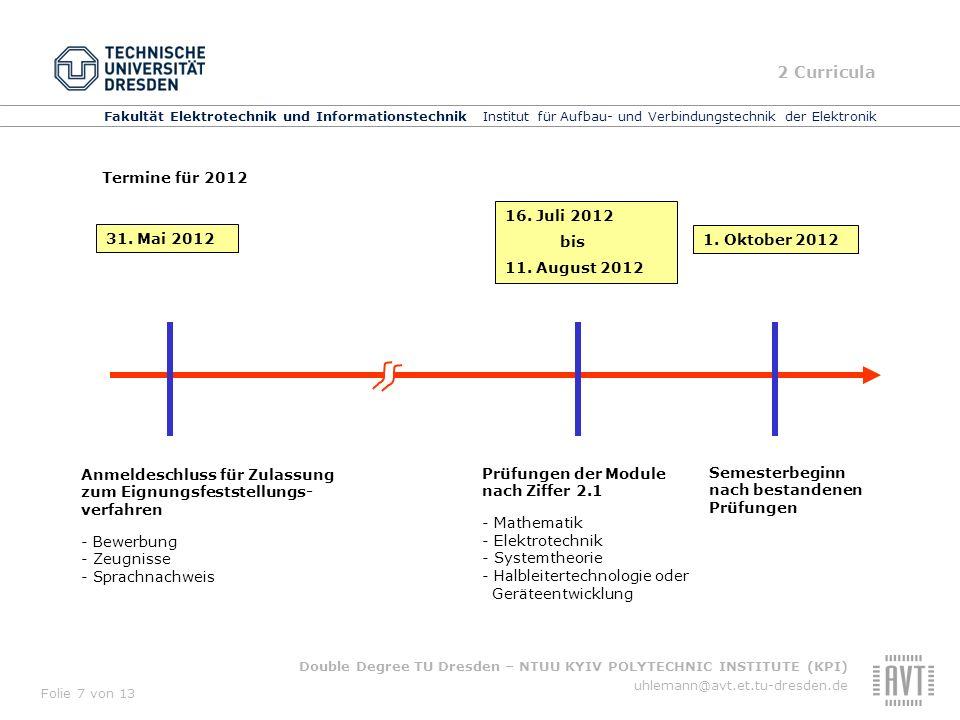 2 Curricula Termine für 2012 16. Juli 2012 bis 31. Mai 2012