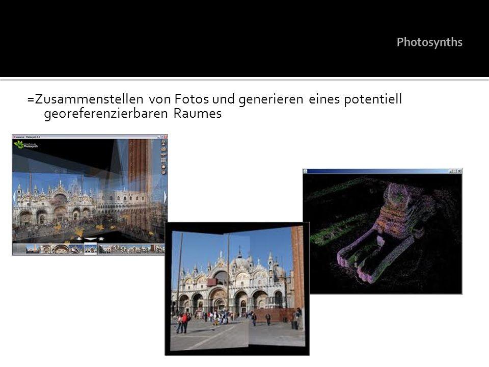 Photosynths =Zusammenstellen von Fotos und generieren eines potentiell georeferenzierbaren Raumes