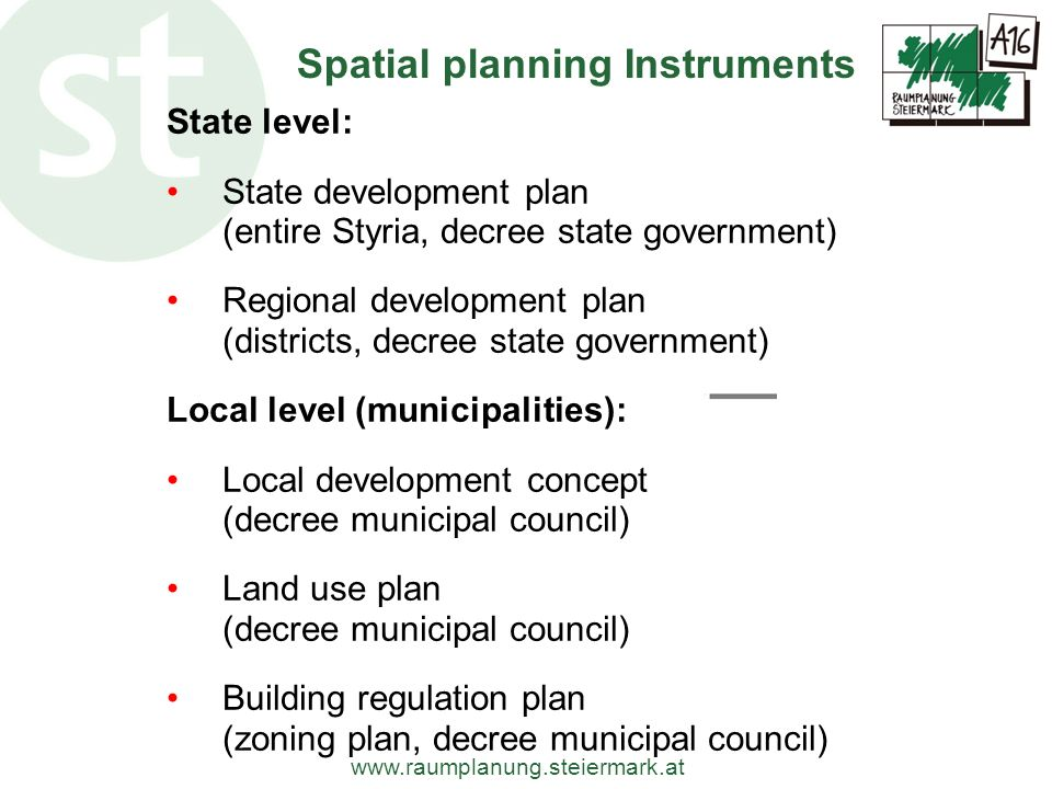 Spatial planning Instruments
