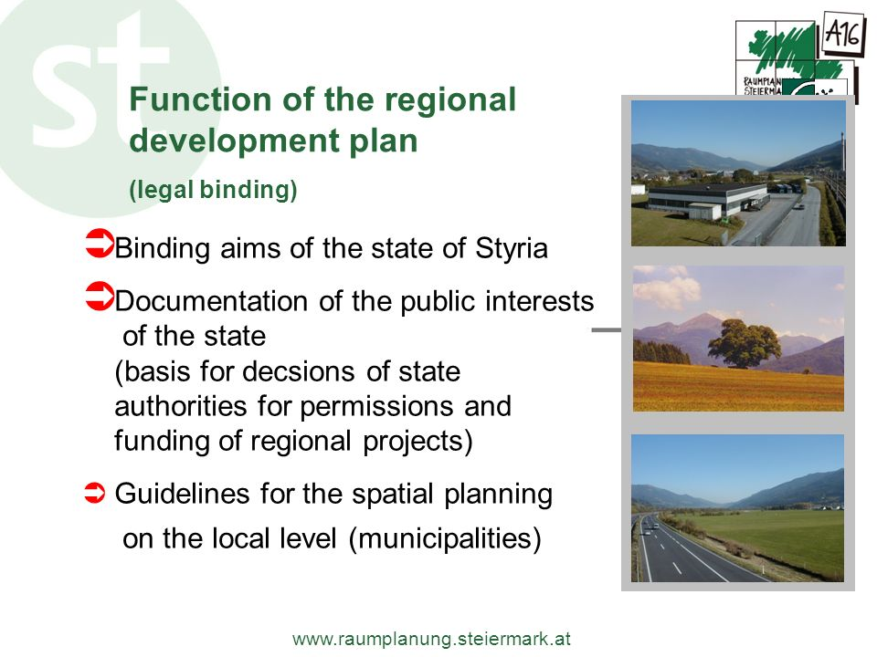 Function of the regional development plan