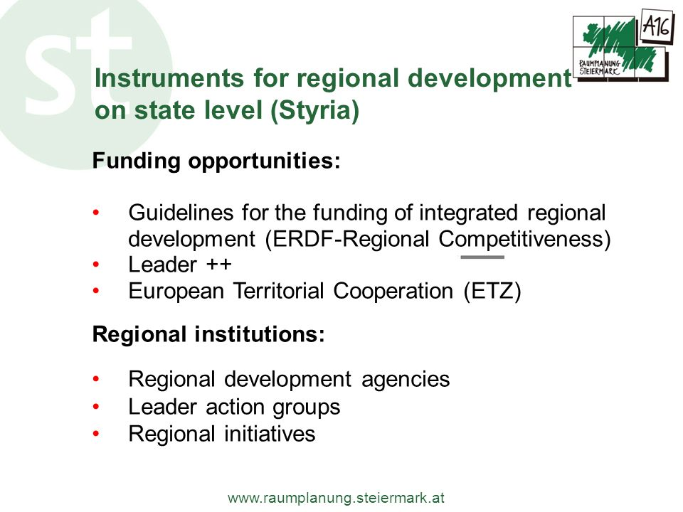 Instruments for regional development on state level (Styria)