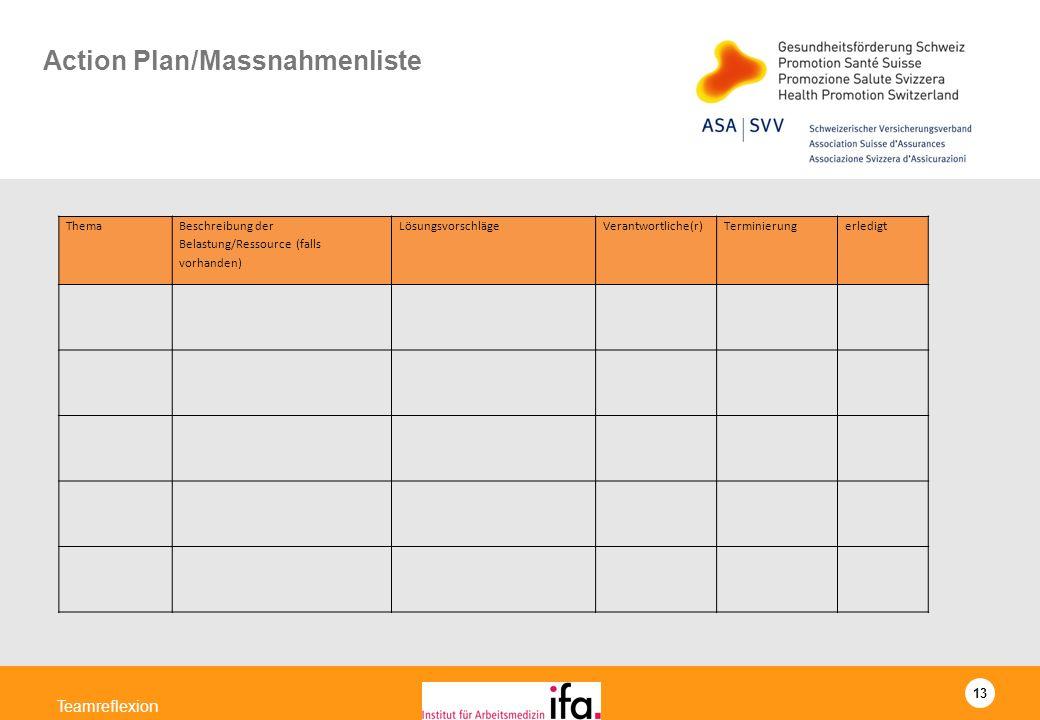 Action Plan/Massnahmenliste