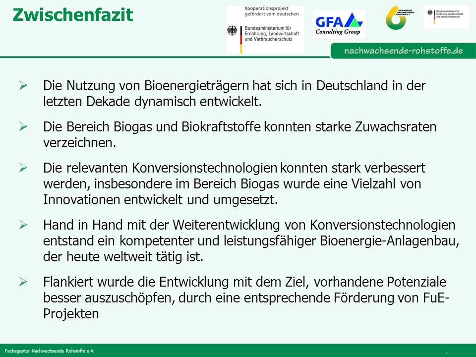 Zwischenfazit Die Nutzung von Bioenergieträgern hat sich in Deutschland in der letzten Dekade dynamisch entwickelt.