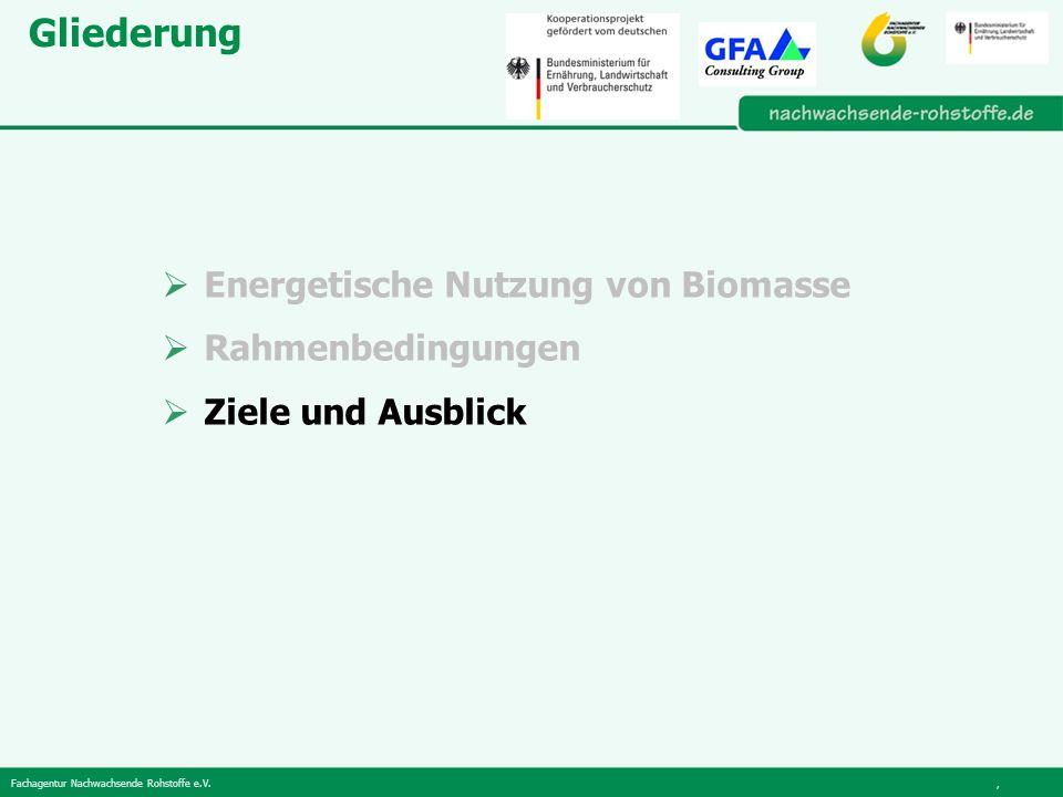 Gliederung Energetische Nutzung von Biomasse Rahmenbedingungen