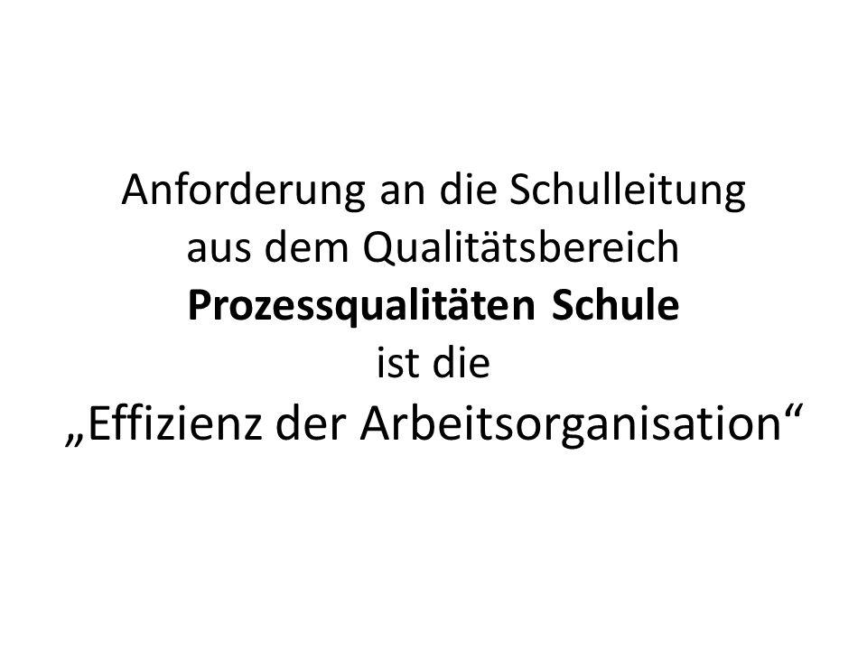 """Anforderung an die Schulleitung aus dem Qualitätsbereich Prozessqualitäten Schule ist die """"Effizienz der Arbeitsorganisation"""