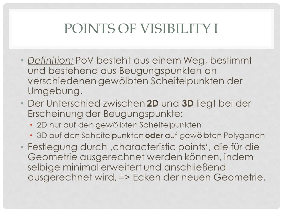 Points of visibility I