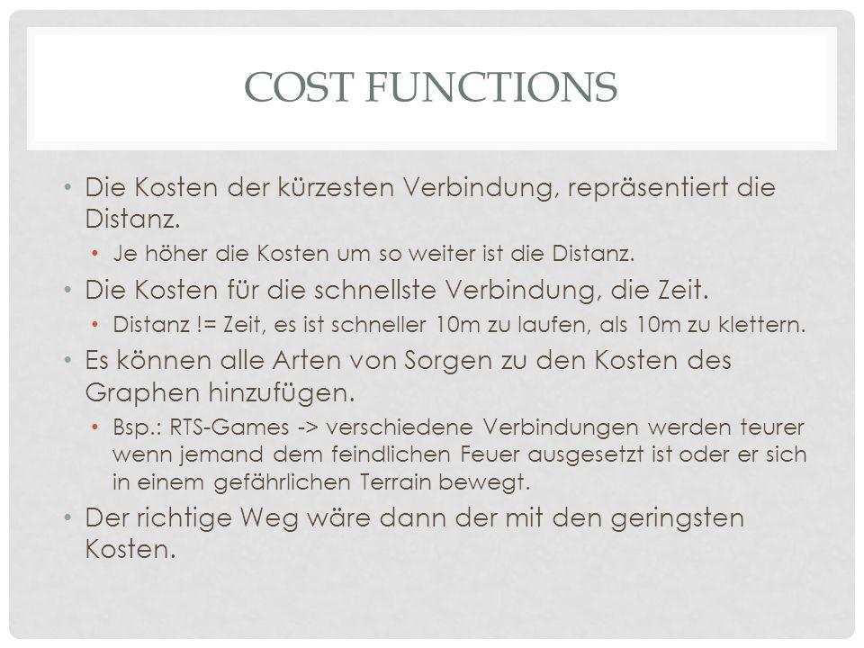 Cost functions Die Kosten der kürzesten Verbindung, repräsentiert die Distanz. Je höher die Kosten um so weiter ist die Distanz.