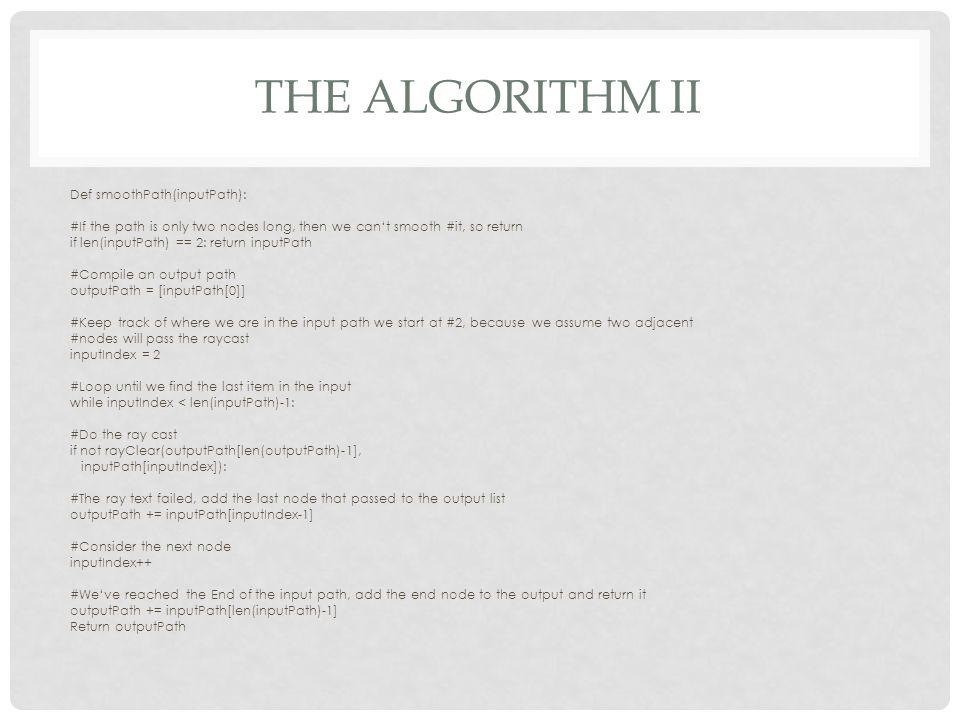 The algorithm ii