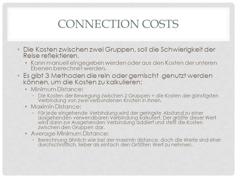 Connection Costs Die Kosten zwischen zwei Gruppen, soll die Schwierigkeit der Reise reflektieren.