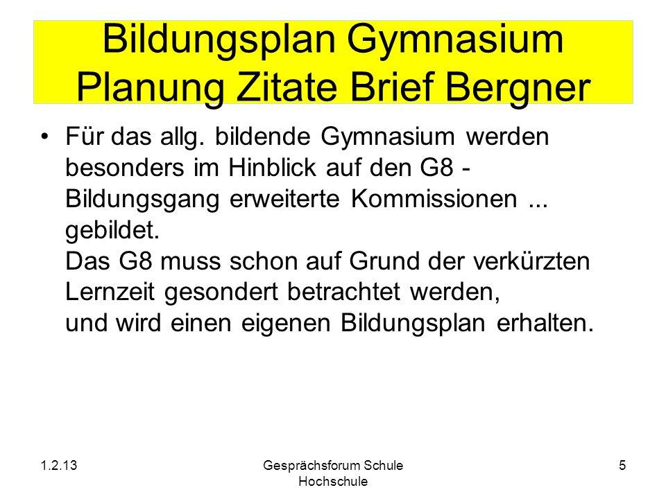 Bildungsplan Gymnasium Planung Zitate Brief Bergner