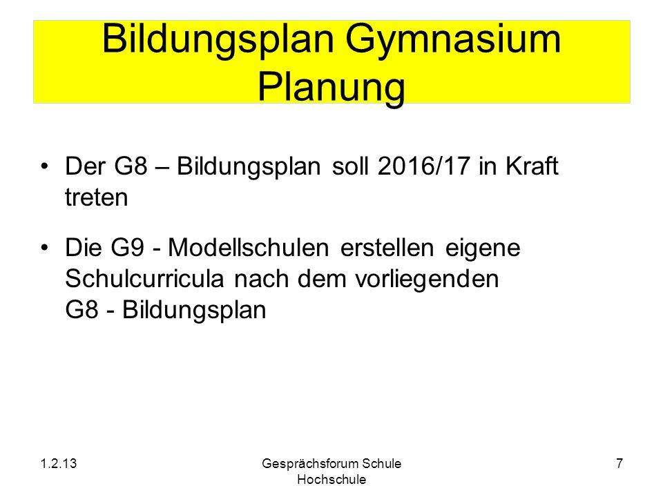 Bildungsplan Gymnasium Planung