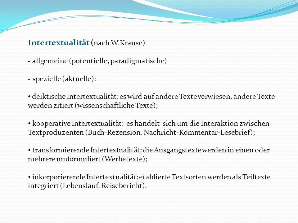 Intertextualität (nach W.Krause)
