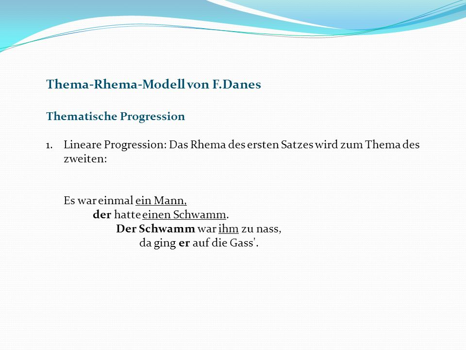 Thema-Rhema-Modell von F.Danes