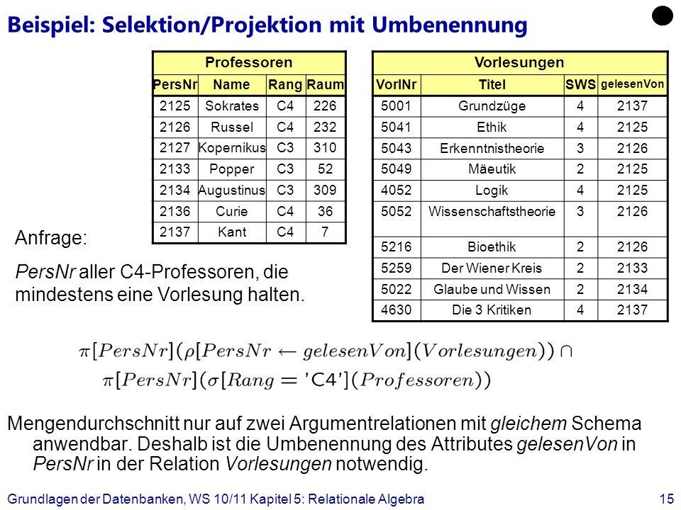 Beispiel: Selektion/Projektion mit Umbenennung