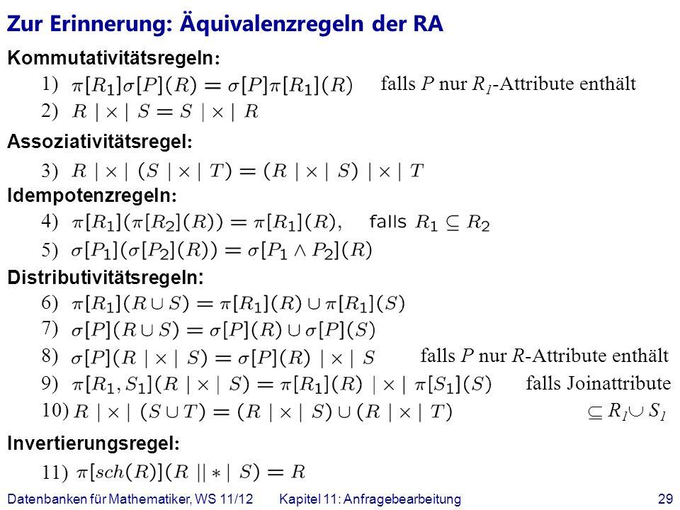 Zur Erinnerung: Äquivalenzregeln der RA