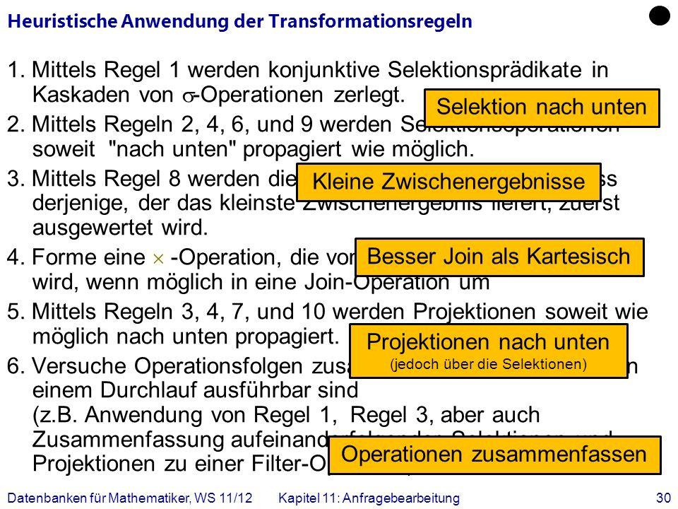 Heuristische Anwendung der Transformationsregeln