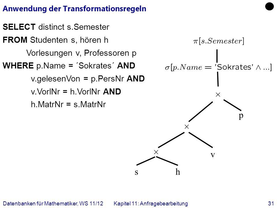 Anwendung der Transformationsregeln