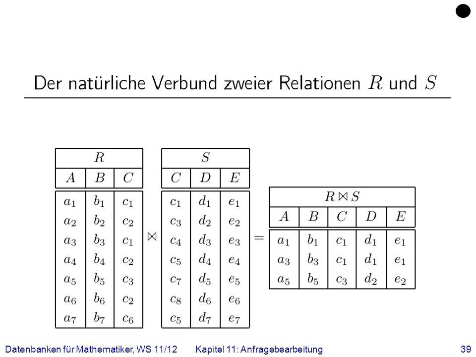 Datenbanken für Mathematiker, WS 11/12 Kapitel 11: Anfragebearbeitung