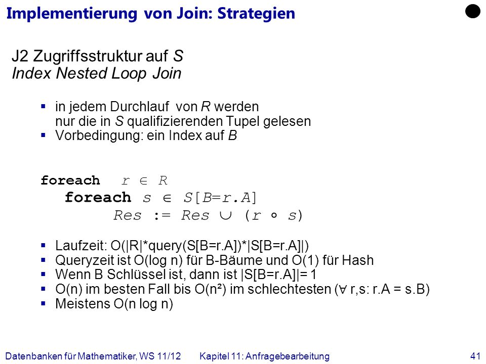 Implementierung von Join: Strategien
