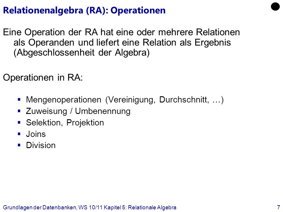 Relationenalgebra (RA): Operationen