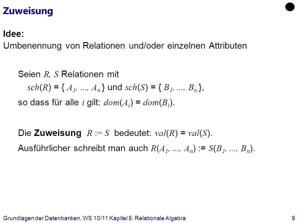 ZuweisungIdee: Umbenennung von Relationen und/oder einzelnen Attributen.