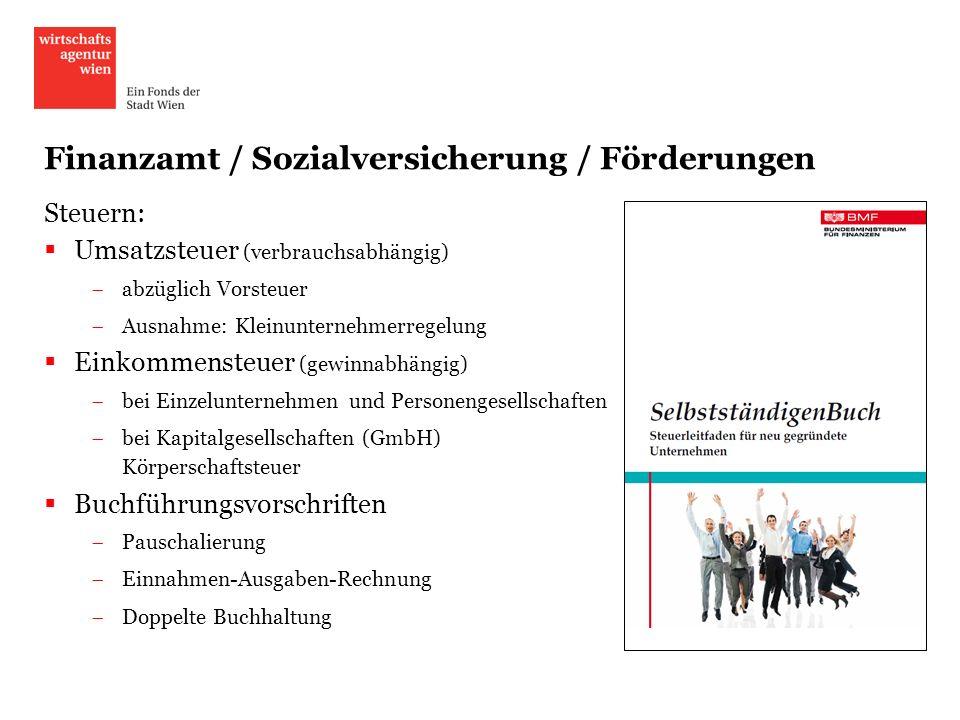Finanzamt / Sozialversicherung / Förderungen
