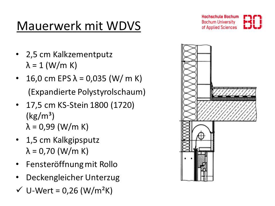 Mauerwerk mit WDVS 2,5 cm Kalkzementputz λ = 1 (W/m K)